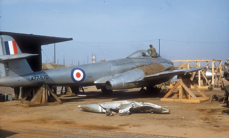 In 1951 the Royal Australian Air Force's No. 77 Squadron traded their American propeller-driven F-51s for British Meteors. No. 77 Squadron flew as an attached unit to a USAF fighter wing. (U.S. Air Force photo)