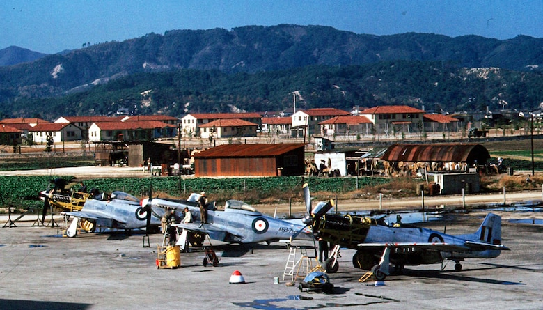 Royal Australian Air Force F-51s in maintenance at Iwakuni, Japan. (U.S. Air Force photo)