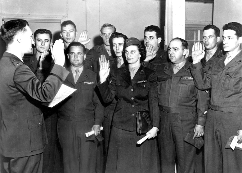 Air Force Reserve members re-affirm their oaths of service at Mitchel Air Force Base, N.Y., 1951. (U.S. Air Force photo)