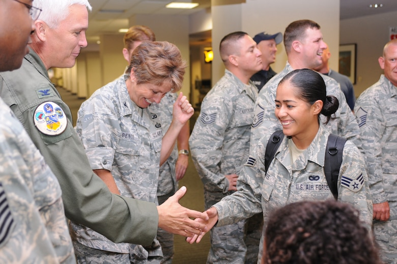 Senior Airman Leticia Torres is welcomed home after a five-month deployment to Iraq, June 6. Family and friends celebrated the return of 29 security forces Airmen assigned to the 162nd Fighter Wing at Tucson International Airport. (Air Force photo by Maj. Gabe Johnson)