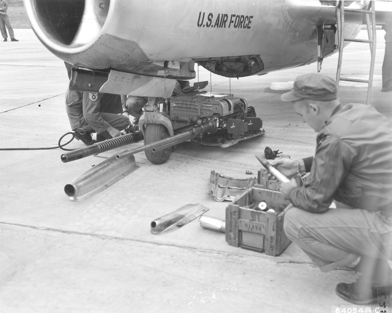 The MiG-15 had a unique system for mounting its three cannon on a section of the fuselage that could be lowered by four cables. This feature permitted rapid rearming and easier routine maintenance. The guns in this photo are on display at the National Museum of the U.S. Air Force. (U.S. Air Force photo)