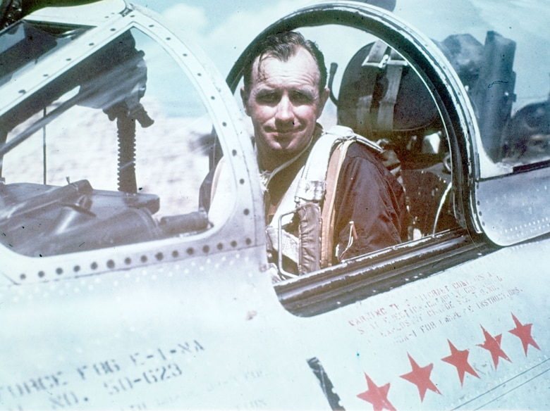 Col. Harrison Thyng in the cockpit of his F-86 during the Korean War. He commanded the 4th Fighter-Interceptor Wing. (U.S. Air Force photo)