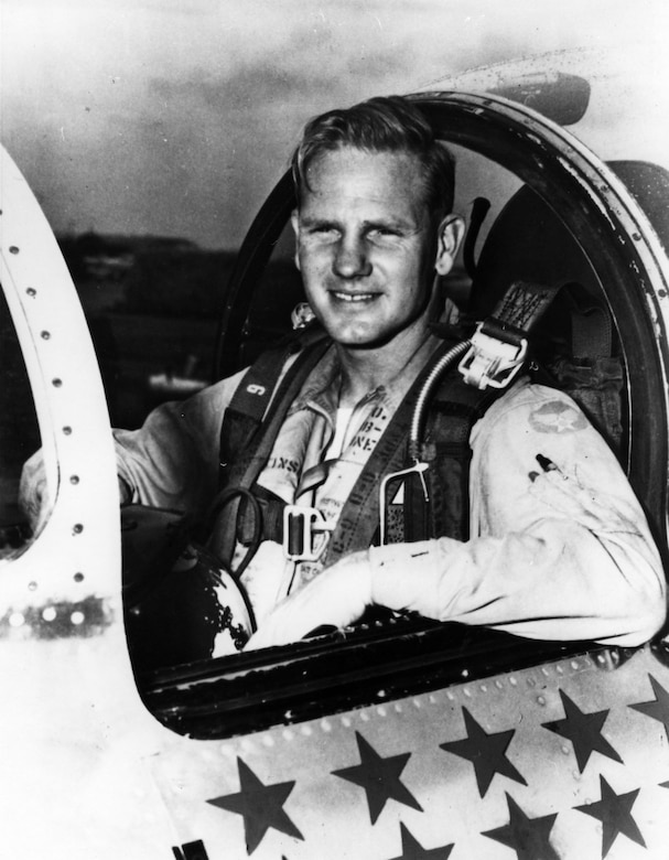 "Maj. Frederick C. ""Boots"" Blesse in his F-86 during the Korean War. (U.S. Air Force photo)"
