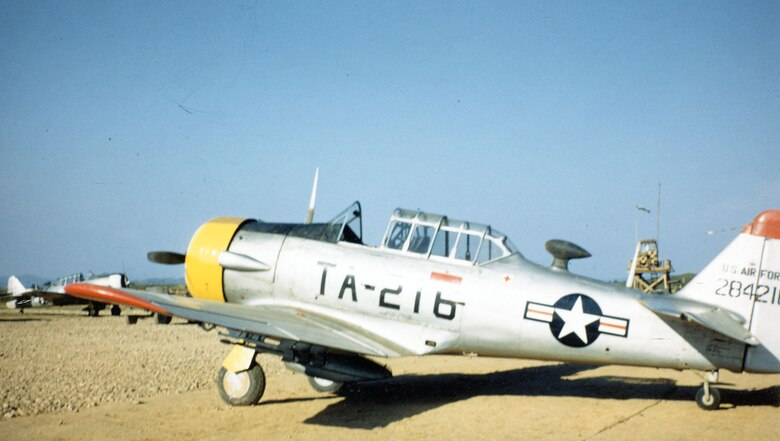 The museum's T-6D at an airfield in Korea in the summer of 1951. (U.S. Air Force photo)