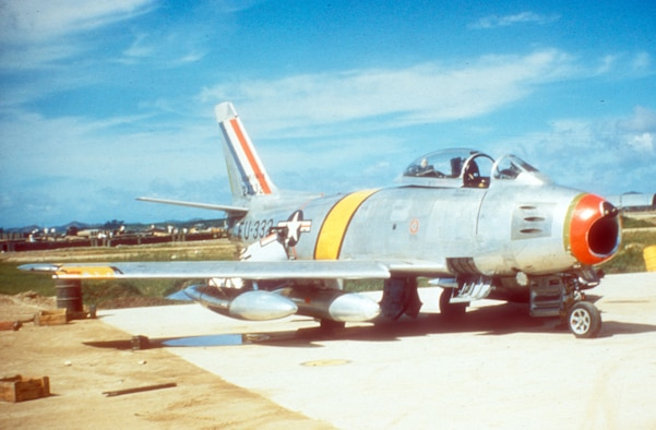 By 1953, the F-86F, a ground-attack version of the famed Sabre fighter, had replaced  the piston-engine F-51 in most USAF units. (U.S. Air Force photo)