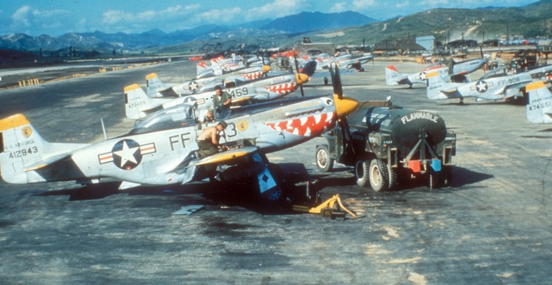F-51D Mustangs on the flight line of a Korean airfield in 1952. (U.S. Air Force photo)