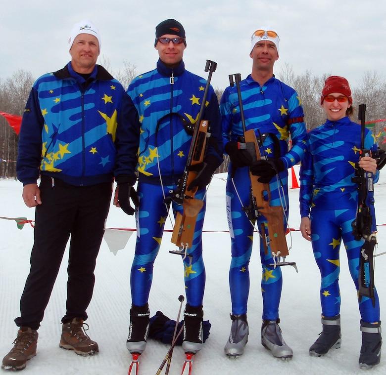 The Alaska Team at the Chief National Guard Biathlon Championships at Camp Ripley, Minn. From left to right:  Scott Belyea, Lauren Kostoff, David Cunningham, Rebecca King.