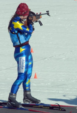 Maj. Becky King of the Alaska Air National Guard competes in the Chief National Guard Biathlon Championships at Camp Ripley, Minn., on March 2, 2010.