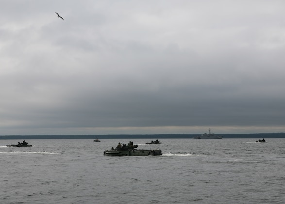 U.S. Marines amphibious assault vehicles embarked aboard the USS Gunston Hall (LSD 44) advance on the shore line during a combined U.S./Estonian amphibious landing. The combined operations was part of a demonstration of the interoperability between the two forces as part of exercise Baltic Operations 2010, an exercise designed to increase the interoperability of NATO and partner nations in the Baltic Sea region.