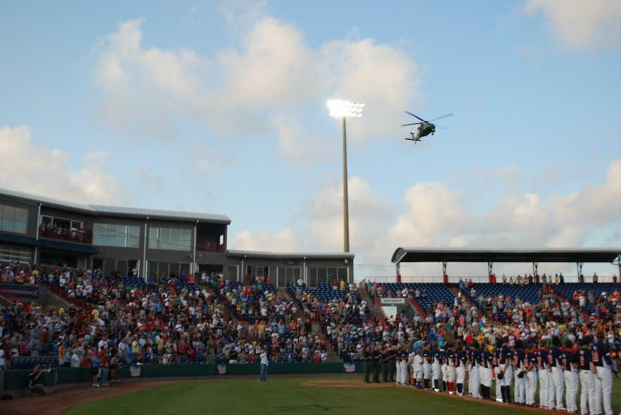 920 helicpoter does fly over as national anthem comes to and end…