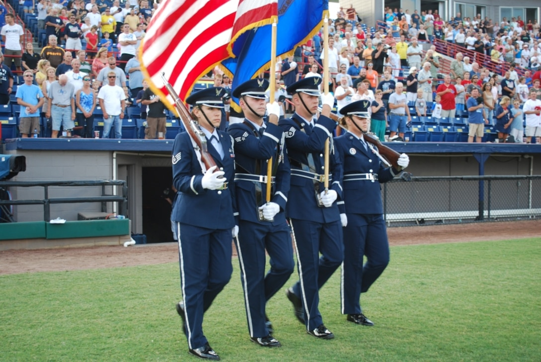 45th Space Wing Honor Guard provides colors before game.