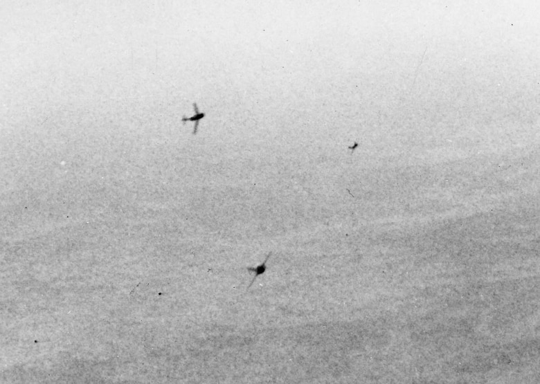 Cause for worry -- three MiG-15s curving in to attack. (U.S. Air Force photo)