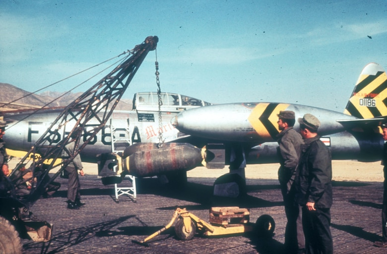 """Although the F-84 """"Thunderjet"""" was unable to protect USAF B-29s from the MiG-15, it proved to be an excellent ground attack aircraft. The F-84 carried a heavy bomb load and contributed to the """"air pressure"""" campaign against strategic targets. (U.S. Air Force photo)"""