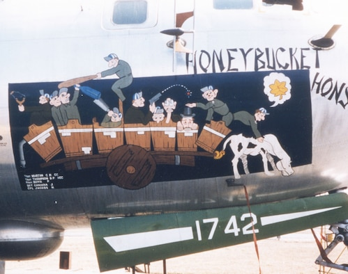"""Honeybucket Honsho."" The B-29's large fuselage made an ideal canvas for nose art. (U.S. Air Force photo)"