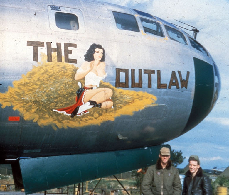 """""""The Outlaw."""" The B-29's large fuselage made an ideal canvas for nose art. (U.S. Air Force photo)"""