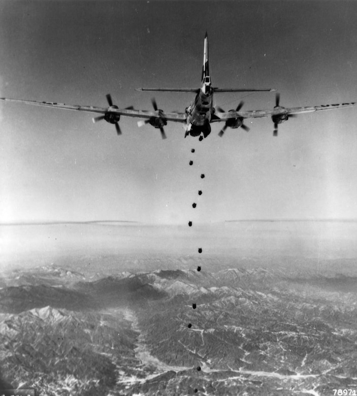 Lead 19th Bomb Group B-29 begins the bombing attack against a target in North Korea in February 1951. (U.S. Air Force photo)