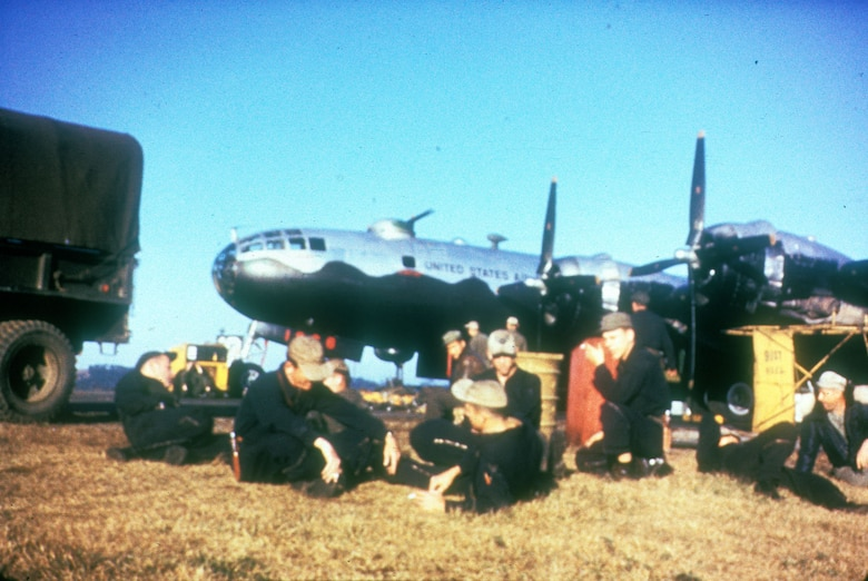 """B-29 crew waiting for the word """"go."""" (U.S. Air Force photo)"""