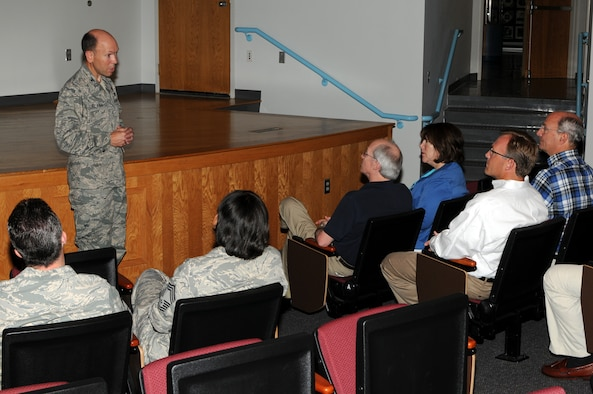 McGHEE TYSON ANGB, Tenn. -- Col. Brad McRee, project officer, speaks to business leaders from the Executive Leadership Forum during a tour of The I.G. Brown Air National Guard Training and Education Center here, June 9, 2010.  (U.S. Air Force photo by Master Sgt. Mavi Smith/Released)