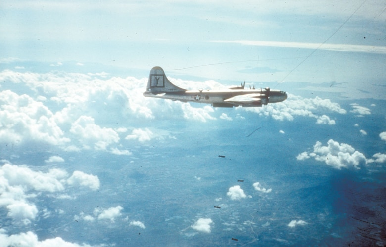 B-29 bombing a target in North Korea. (U.S. Air Force photo)