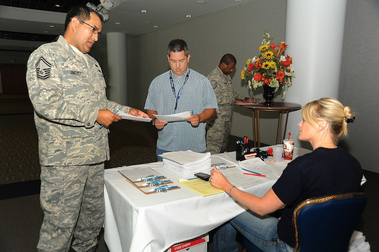 """Senior Master Sgt. Glen Jimenez was one of approximately 20 people who tried out for """"Don't Forget the Lyrics.""""  Casting directors were on Los Angeles AFB to find contestants for a syndicated version of the TV game show.   (Photo by Joe Juarez)"""