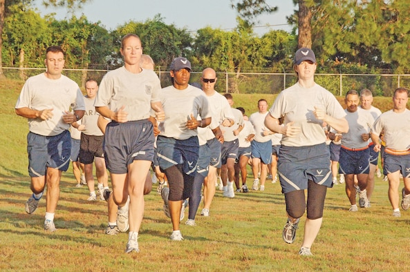 """Senior NCO Academy students participate in """"Fit to Fight"""" at the Gunter Bowl last year. Beginning July 1, the Air Force will implement more rigorous standards for PT testing.(U.S. Air Force photo/Donna Burnett)"""