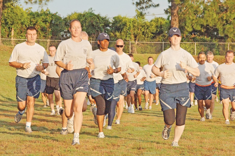 "Senior NCO Academy students participate in ""Fit to Fight"" at the Gunter Bowl last year. Beginning July 1, the Air Force will implement more rigorous standards for PT testing.(U.S. Air Force photo/Donna Burnett)"
