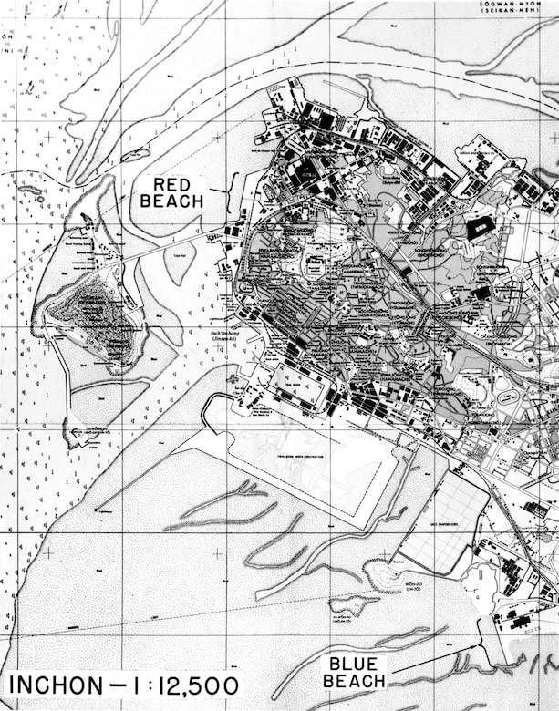 Map of Inchon showing the landing beaches. (U.S. Air Force photo)
