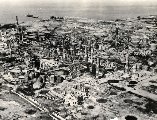 This post-strike photo of the Wonsan petroleum refinery shows 95 percent damage after B-29 bomber strikes in August 1950. (U.S. Air Force photo)