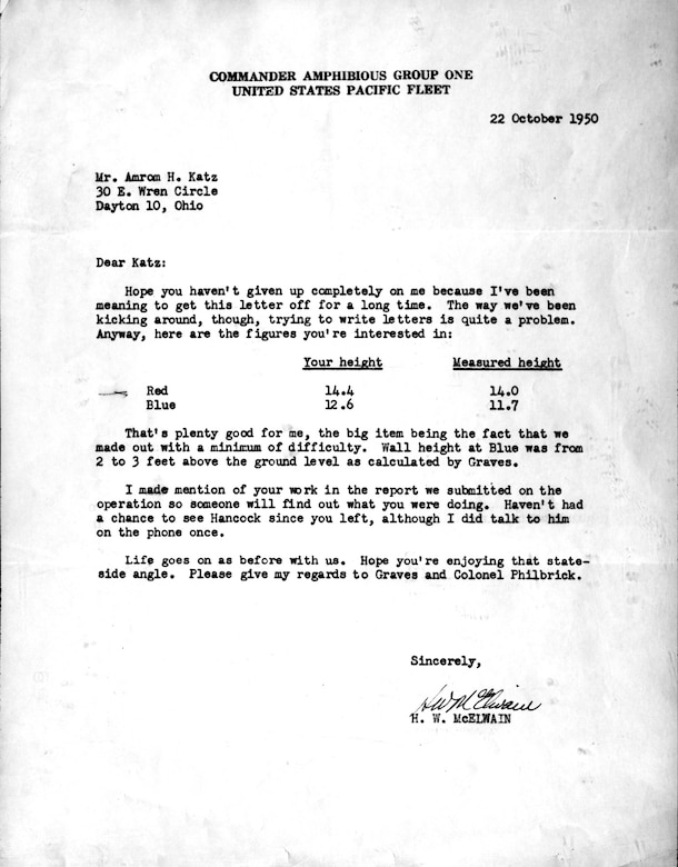 Copy of a letter to USAF reconnaissance pioneer Amron Katz confirming the predicted height of the Inchon sea wall. (U.S. Air Force photo)