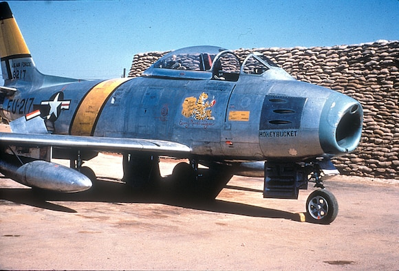 "A few F-86 fighters were modified into RF-86 reconnaissance aircraft for dangerous unescorted missions over MiG Alley. Shown here in 1952, RF-86A ""Honeybucket"" was lost on a later mission. (U.S. Air Force photo)"