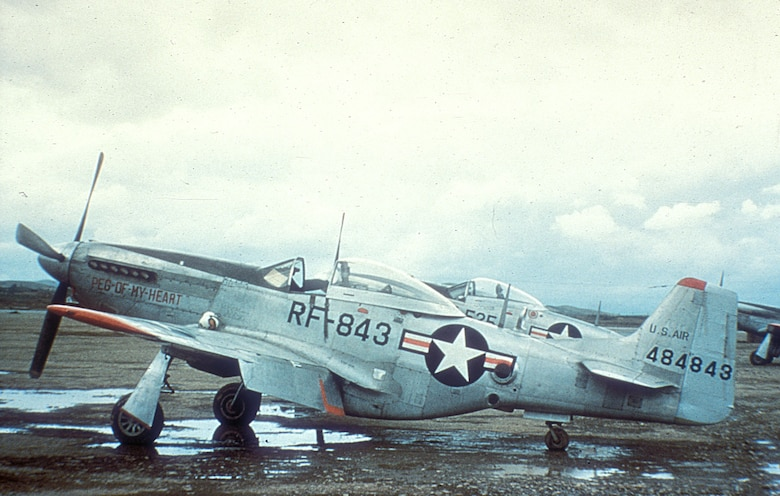 RF-51Ds flew reconnaissance missions at or near the front. The camera porthole is visible on the right bar of the national insignia. (U.S. Air Force photo)