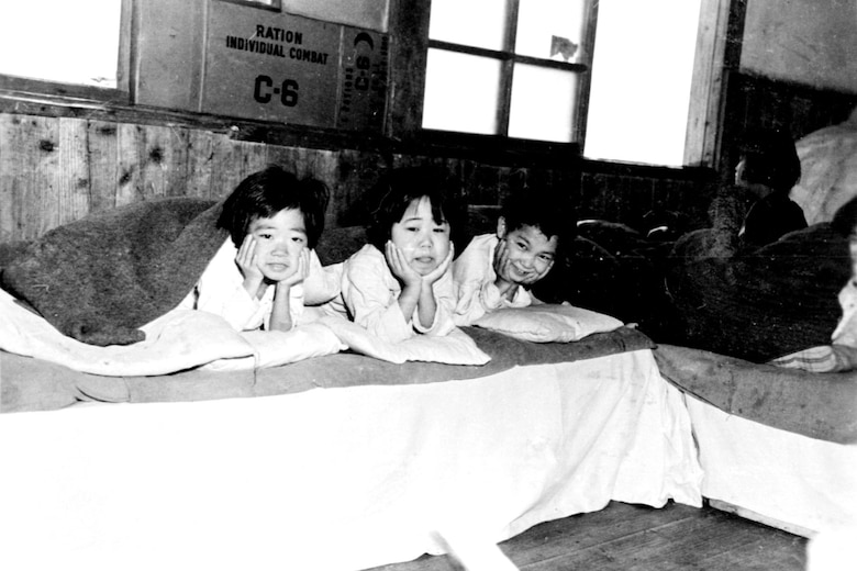 Korean children fed, clothed and housed at the Cheju-do orphanage. (U.S. Air Force photo)