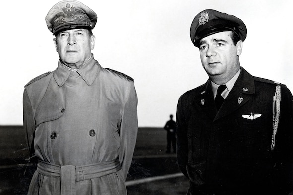 Gen. Douglas MacArthur, World War II hero and first UN commander in Korea, with his pilot, Lt. Col. Anthony Storey. Combat Cargo transported VIPs as well as supplies and troops. (U.S. Air Force photo)