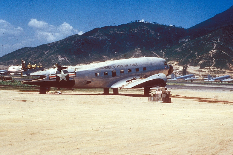 Damaged aircraft like this C-47 were often stripped for parts to keep others flying. (U.S. Air Force photo)