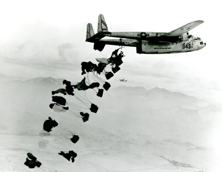 C-119s delivered most airdropped supplies in Korea. (U.S. Air Force photo)