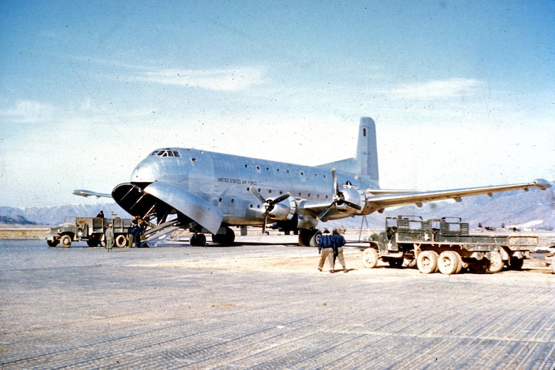 The enormous C-124 Globemaster entered the USAF inventory in mid 1950, and had unmatched carrying capacity. (U.S. Air Force photo)