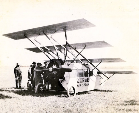 The Zerbe Air Sedan was invented by Arkansan Jerome Zerbe, in 1919. It was one of the first attempts at mass air transit. (Courtesy photo from Ozark Mountain Museum)