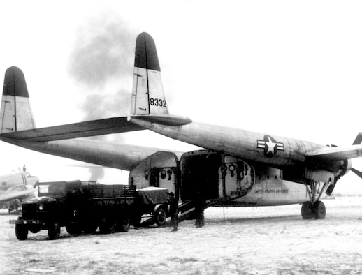 Rugged, versatile C-119 Flying Boxcars were instrumental in Combat Cargo operations. They were designed for easy loading and large capacity. (U.S. Air Force photo)