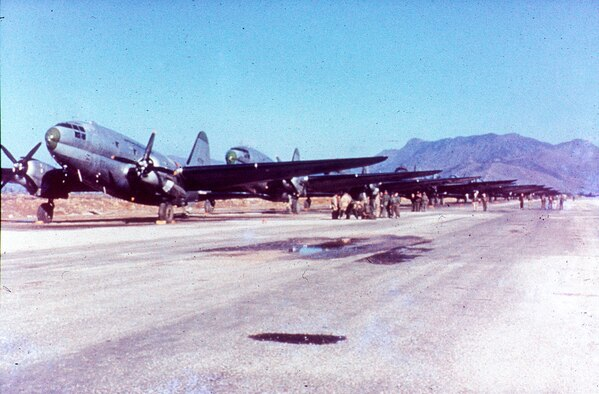 C-46 Commando transports on the flight line in Korea. (U.S. Air Force photo)