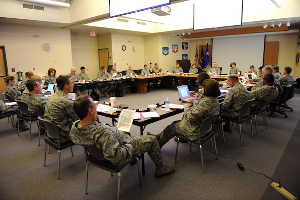 """Maj. Gen. Andrew F. Turley, Air National Guard (ANG) Assistant to the Judge Advocate General of the Air Force (TJAG), leads a national meeting of the ANG Council of the TJAG at Hancock Field on June 4-5, 2010.  The Council is composed of 13 """"assistants"""" representing each of the major commands in the Air Force, as well as five senior enlisted members."""