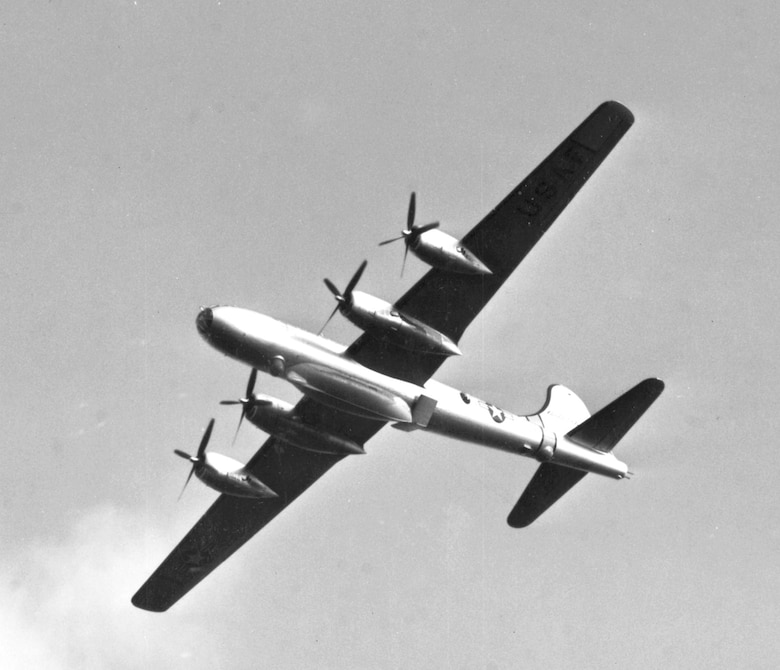 An SB-29 preparing for a lifeboat test drop in 1952. (U.S. Air Force)