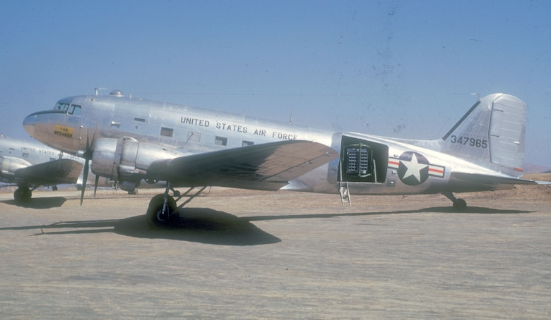 """One of two loudspeaker-equipped C-47s. This one was named """"The Speaker"""" and the other """"The Voice."""" (U.S. Air Force photo)"""