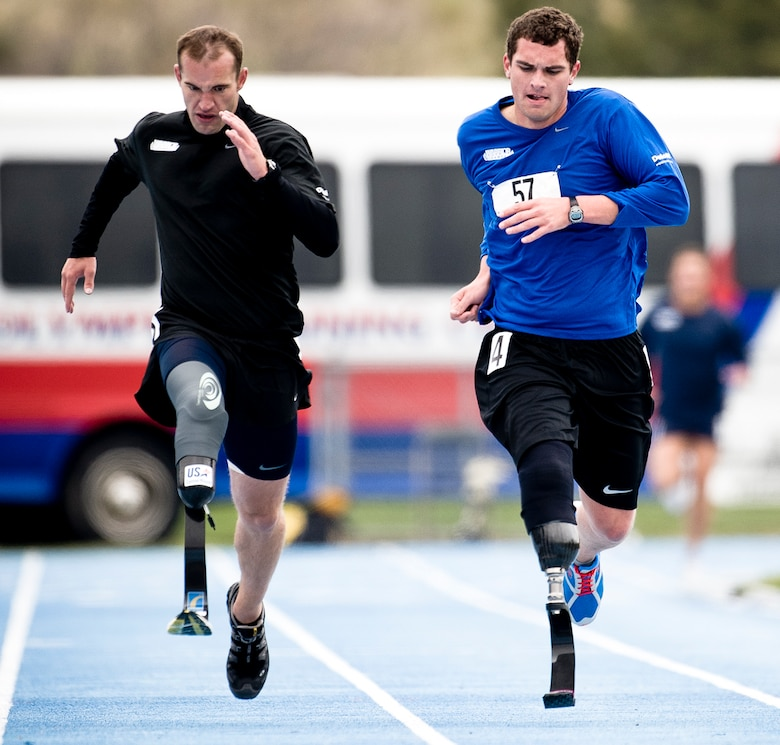 Held at the Olympic Training Center  and the Air Force Academy in Colorado Springs, Colo., the Warrior Games proved to be a great tonic for McGuire. Not only did he fare well in the competitions, but the games helped his rehabilitation process as well. McGuire sprints the last leg of the 1,500 to take fourth. (TSgt Samuel Bendet)