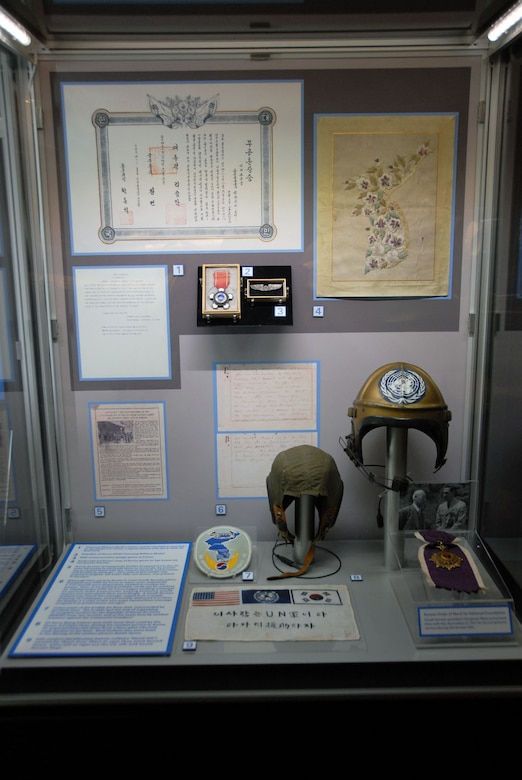 DAYTON, Ohio -- Republic of Korea Air Force artifacts on display in the Korean War Gallery at the National Museum of the U.S. Air Force. (U.S. Air Force photo)