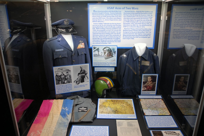 DAYTON, Ohio -- USAF Aces of Two Wars exhibit in the Korean War Gallery at the National Museum of the U.S. Air Force. (U.S. Air Force photo)