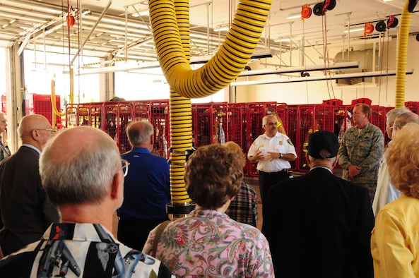 Niagara Falls Air Reserve Station Fire Chief Ed McDonald gives a tour of the new base fire department to members of the Air Force Association and the Navy League June 18. The 914th Airlift Wing hosted the AFA and Navy League for a luncheon and a brief tour of the base facilities.