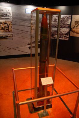 DAYTON, Ohio -- 5-inch High Velocity Aircraft Rocket (HVAR) exhibit in the Korean War Gallery at the National Museum of the U.S. Air Force. (U.S. Air Force photo)