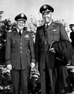 The Air Force provided high-level delegates to the armistice process. USAF Maj. Gen. Laurence Craigie (left) with his successor as Senior UN Command delegate to the armistice negotiations in Korea, Maj. Gen. Howard Turner. (U.S. Air Force photo)