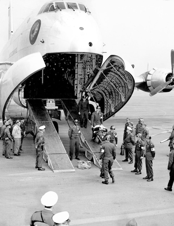 Giant C-124 Globemaster transports ferried released POWs from Korea to Japan, and home to the United States. (U.S. Air Force photo)