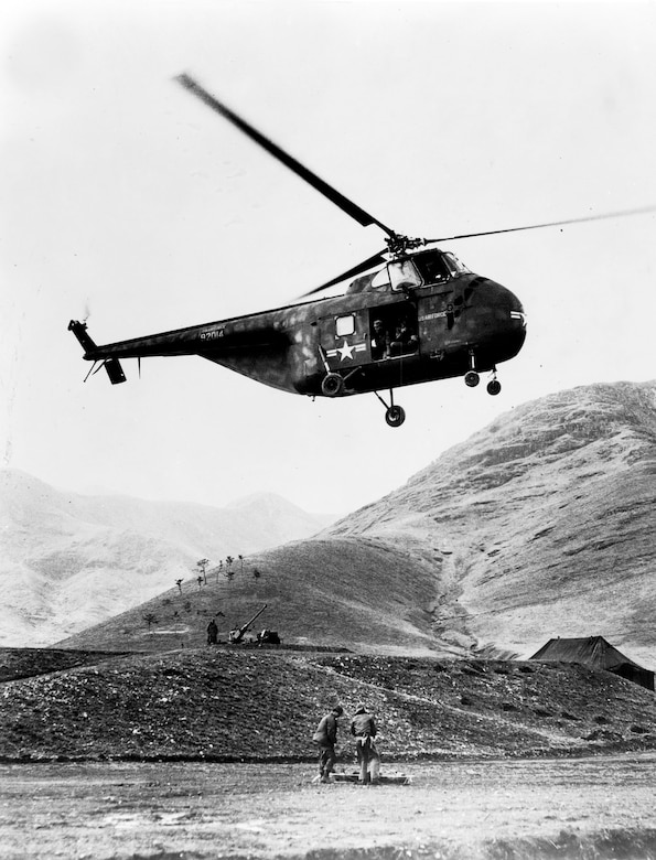 The H-19's winch allowed its crews to pick up casualties without landing. (U.S. Air Force photo)